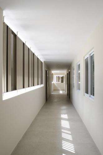 11. Linear corridor with dormitories on the right