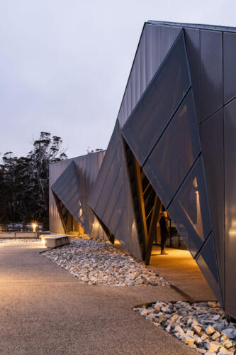 3. Cradle Mountain visitor centre exterior form at twilight